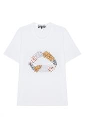 Хлопковая футболка с кристаллами и пайетками Markus Lupfer