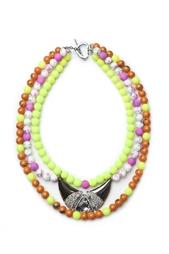 Ожерелье из металла, страз и агата в эмали Masterpeace