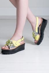 Кожаные сандалии на платформе Coliac
