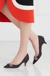 Туфли из шелка и кожи Rochas