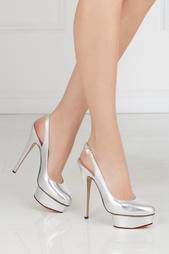 Серебристые Туфли из металлизированной кожи Dolly Slingback Covered P Charlotte Olympia