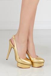 Золотистые Туфли из металлизированной кожи Dolly Slingback Covered P Charlotte Olympia