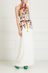Шелковое платье с вышивкой Oscar de la Renta