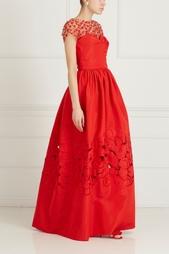 Шелковое платье-бюстье с вышивкой Oscar de la Renta