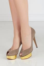 Серые Замшевые туфли Daphne Gold Platform Charlotte Olympia