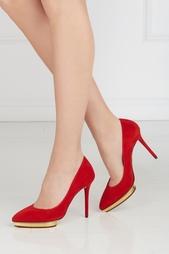 Замшевые туфли Debbie Gold Platform Charlotte Olympia