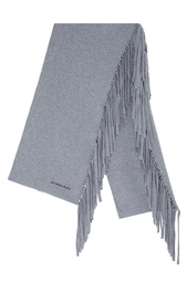Шерстяной шарф Solid Felted Fringe Knitted Scarf Burberry