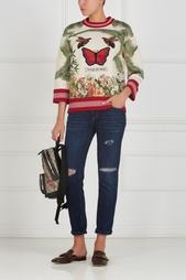 Хлопковый свитшот с принтом и вышивкой Gucci