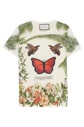 Хлопковая футболка с принтом и вышивкой Gucci