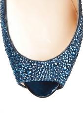 Синие Туфли со стразами Lady Peep Strass 150 Christian Louboutin