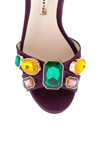 Кожаные босоножки с кристаллами Amanda