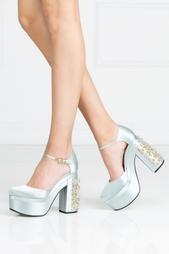 Голубые Туфли с кристаллами Rochas