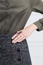Кольцо на два пальца из позолоченной меди с лазуритами Doug Uribe