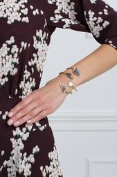 Позолоченный браслет из латуни с перламутром и дюмортьеритом Lizzie Fortunato