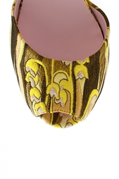 Кожаные босоножки с вышивкой Giamba