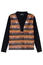 Пуловер из шерсти и кожи Derek Lam