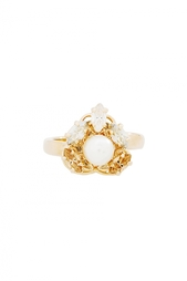 Позолоченное кольцо с кристаллами и жемчугом Anton Heunis