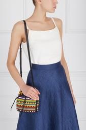 Кожаная сумка с вышивкой Mini Daliah Bucket Africa Les Petits Joueurs