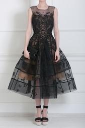 Платье из органзы с вышивкой Oscar de la Renta