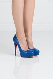 Синие Туфли из кожи крокодила Bianca 140 Christian Louboutin