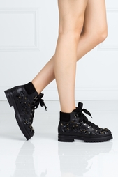 Кожаные ботинки с кристаллами AGL