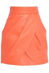 Кожаная юбка Balmain