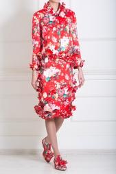 Прямая юбка с цветочным принтом Simone Rocha