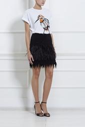 Шерстяная юбка со страусиными перьями No.21