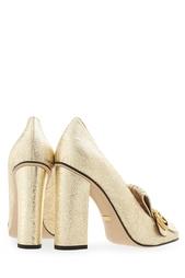 Золотистые Туфли из металлизированной кожи Gucci