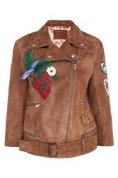 Замшевая куртка с вышивкой Gucci