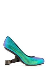 Зеленые Туфли из металлизированной кожи Eamz Pump United Nude