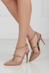 Бежевые Кожаные туфли с бирюзой Valentino