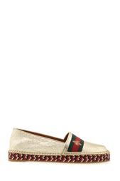 Эспадрильи из металлизированной кожи Gucci