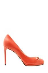 Оранжевые Кожаные туфли Gucci