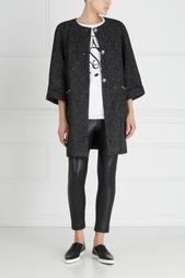 Пальто из шерсти и хлопка с люрексом Anna Stevar