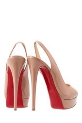 Туфли из лакированной кожи Lady Peep Sling 150 Christian Louboutin