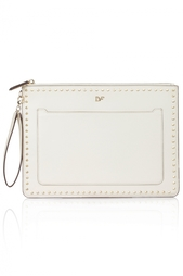 Кожаный клатч Zip and Go Pouch Studded Leather Diane von Furstenberg