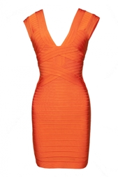 Бандажное платье с двойным V-образным вырезом Hervé Léger