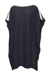 Черное платье с вырезом-лодочкой и медной каймой Azzaro