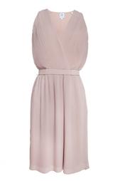 Плиссированное платье с поясом Halston Heritage