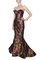 Платье в пол с цветочным принтом Zac Posen