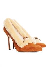 Замшевые туфли с меховой отделкой Oscar de la Renta