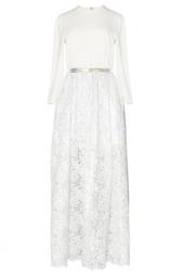 Белое платье с кружевной юбкой Alessandra Rich