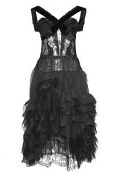 Черное платье с драпировками Nina Ricci