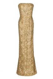 Золотое платье со шлейфом Oscar de la Renta