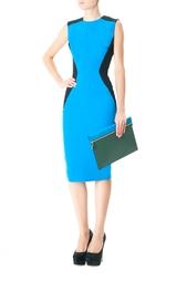 Платье-футляр из шерсти и шелка Victoria Beckham