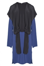 Прямое платье с черной вставкой-воротником Vionnet