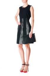 Платье из вискозы с кожаными вставками Diane von Furstenberg