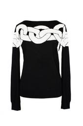 Черный свитер с рисунком Diane von Furstenberg