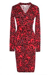 Платье из хлопка с черно-белым принтом Diane von Furstenberg